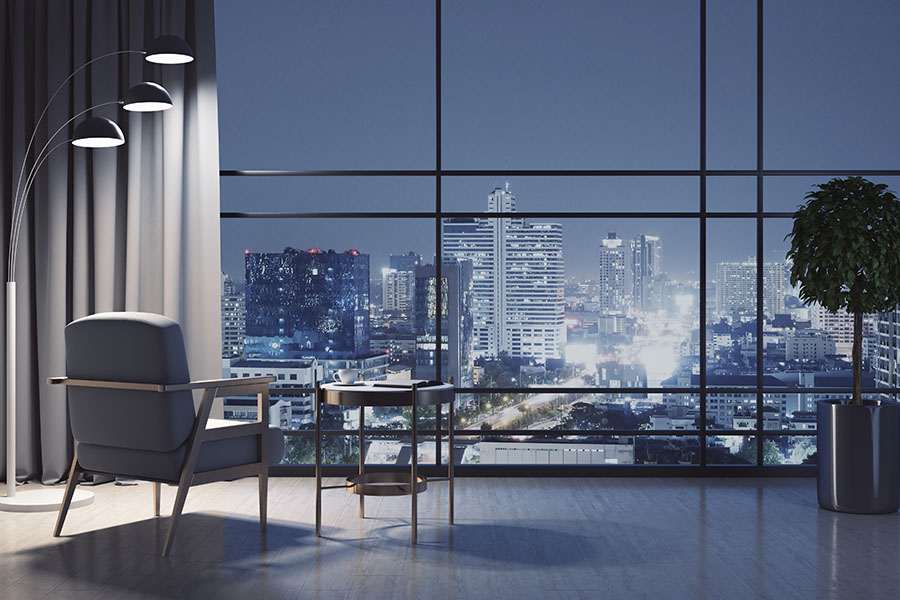 Contact - View of Skyscrapers From Luxury Apartment at Night